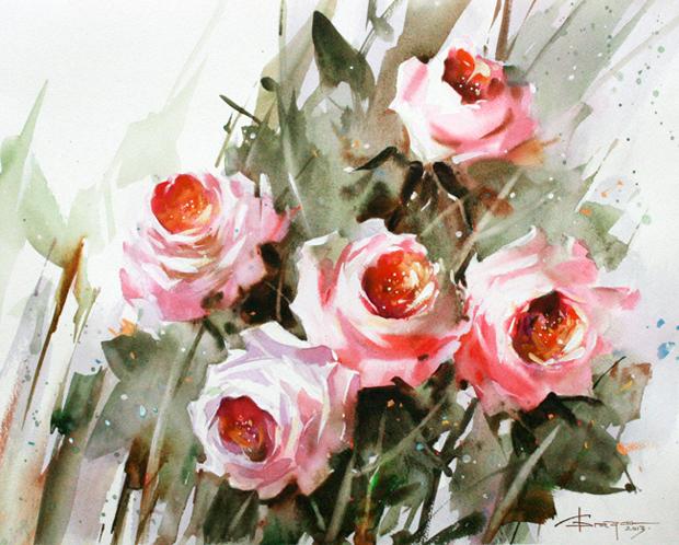 Watercolour-Acuarela-Corneliu-Dragan-Targoviste-floral-12