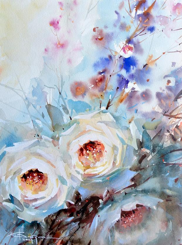 Watercolour-Acuarela-Corneliu-Dragan-Targoviste-floral-5