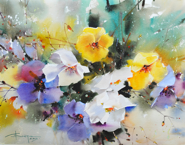 Watercolour-Acuarela-Corneliu-Dragan-Targoviste-floral-6