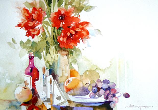 Watercolour-Acuarela-Corneliu-Dragan-Targoviste-natura-moarta-compozitie-2