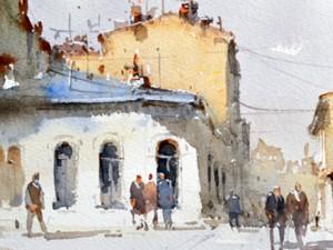 Watercolour-Acuarela-Corneliu-Dragan-Targoviste-peisaj-citadin-0