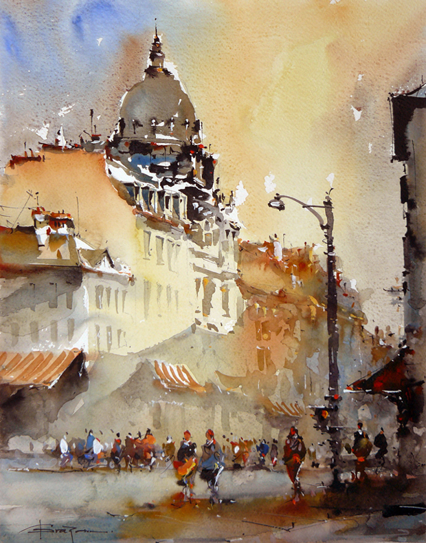 Watercolour-Acuarela-Corneliu-Dragan-Targoviste-peisaj-citadin-1