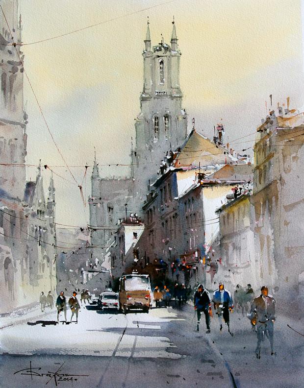 Watercolour-Acuarela-Corneliu-Dragan-Targoviste-peisaj-citadin-10