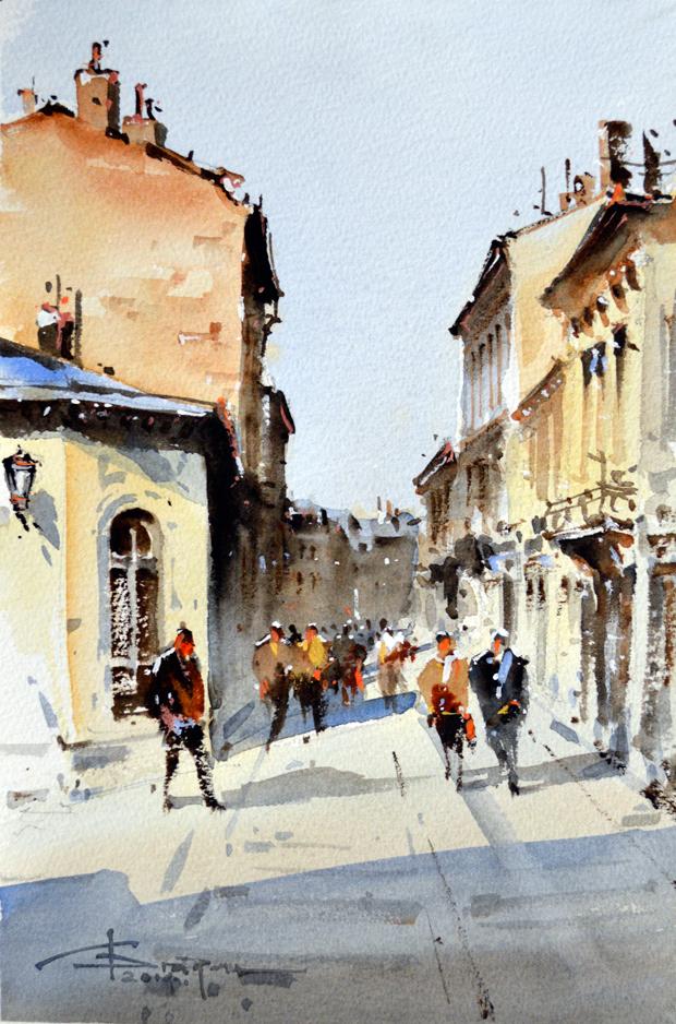 Watercolour-Acuarela-Corneliu-Dragan-Targoviste-peisaj-citadin-12