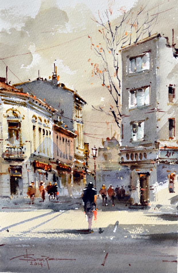Watercolour-Acuarela-Corneliu-Dragan-Targoviste-peisaj-citadin-13
