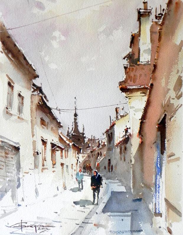 Watercolour-Acuarela-Corneliu-Dragan-Targoviste-peisaj-citadin-15