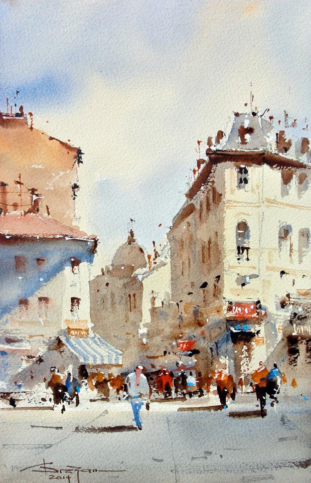 Watercolour-Acuarela-Corneliu-Dragan-Targoviste-peisaj-citadin-16