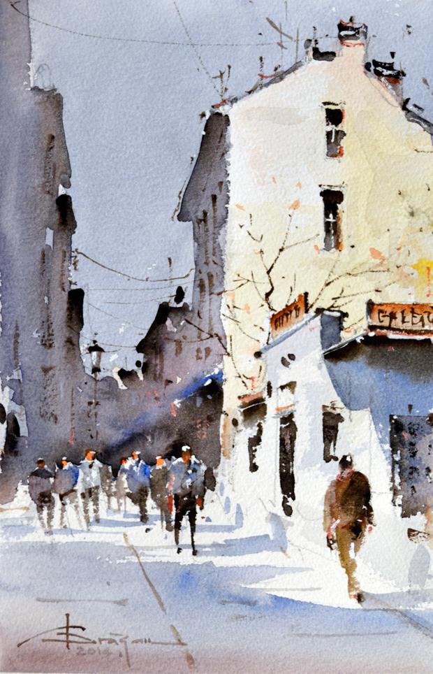 Watercolour-Acuarela-Corneliu-Dragan-Targoviste-peisaj-citadin-17
