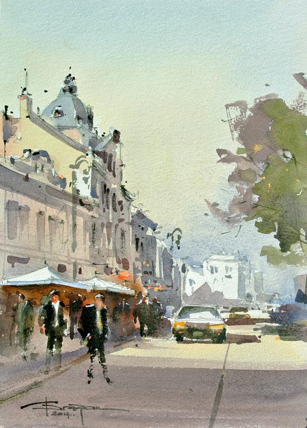 Watercolour-Acuarela-Corneliu-Dragan-Targoviste-peisaj-citadin-18