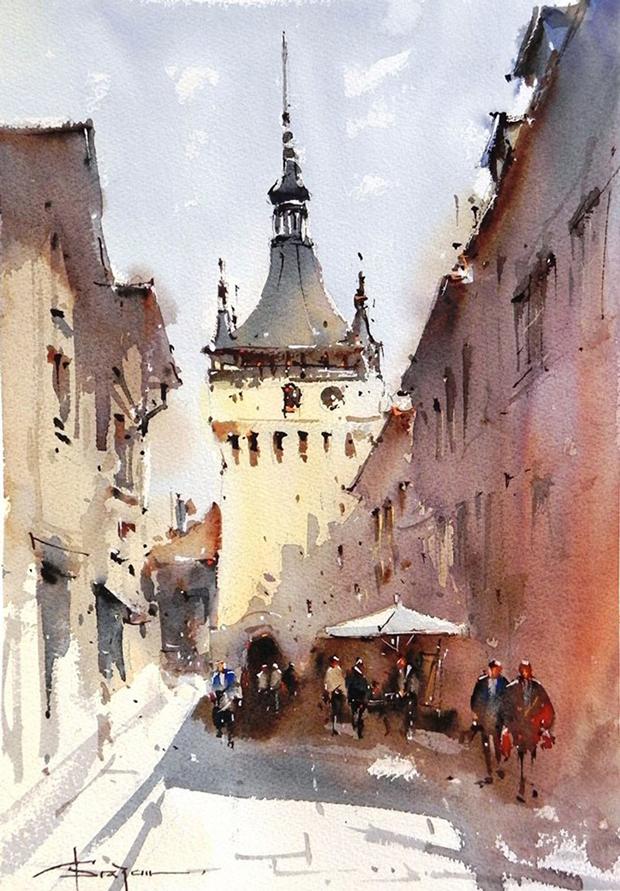 Watercolour-Acuarela-Corneliu-Dragan-Targoviste-peisaj-citadin-19