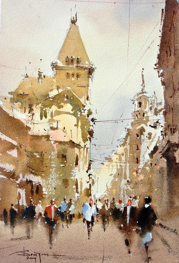 Watercolour-Acuarela-Corneliu-Dragan-Targoviste-peisaj-citadin-2