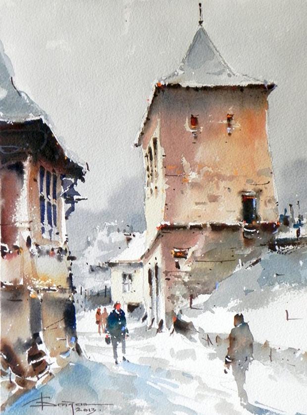 Watercolour-Acuarela-Corneliu-Dragan-Targoviste-peisaj-citadin-21