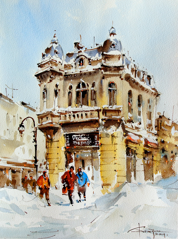Watercolour-Acuarela-Corneliu-Dragan-Targoviste-peisaj-citadin-22