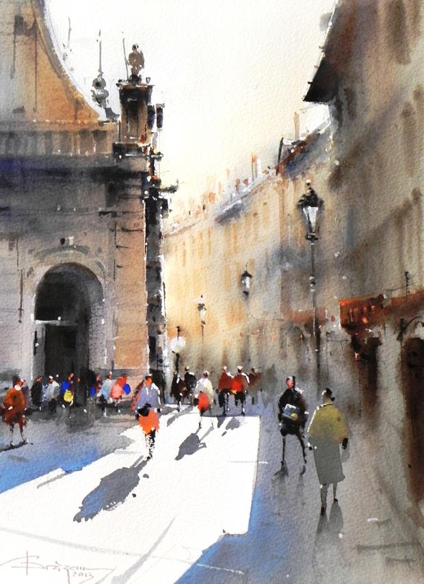 Watercolour-Acuarela-Corneliu-Dragan-Targoviste-peisaj-citadin-23