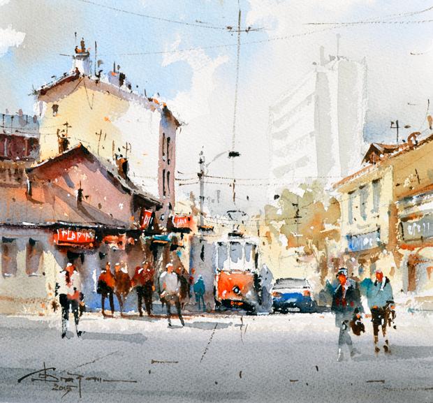 Watercolour-Acuarela-Corneliu-Dragan-Targoviste-peisaj-citadin-24