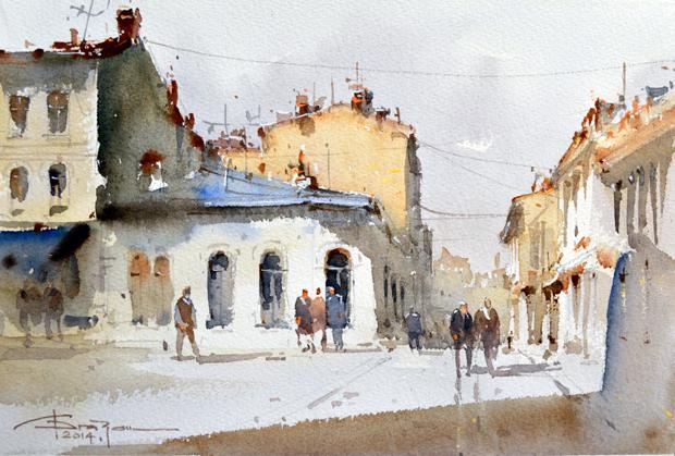 Watercolour-Acuarela-Corneliu-Dragan-Targoviste-peisaj-citadin-26
