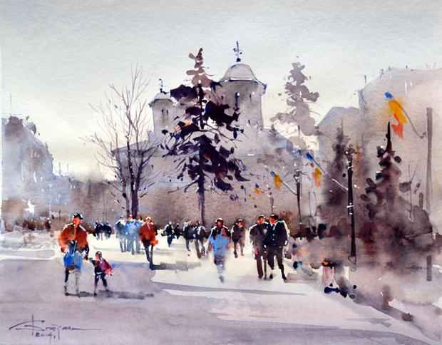 Watercolour-Acuarela-Corneliu-Dragan-Targoviste-peisaj-citadin-27