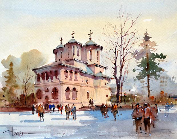 Watercolour-Acuarela-Corneliu-Dragan-Targoviste-peisaj-citadin-28