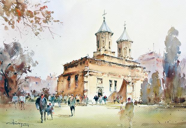 Watercolour-Acuarela-Corneliu-Dragan-Targoviste-peisaj-citadin-29