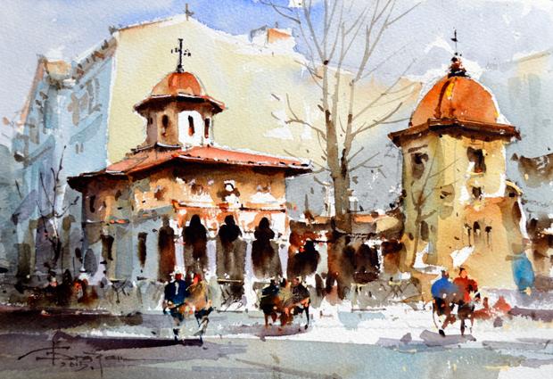 Watercolour-Acuarela-Corneliu-Dragan-Targoviste-peisaj-citadin-30