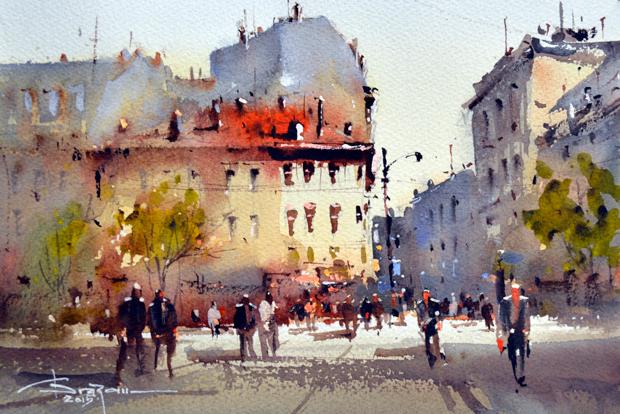 Watercolour-Acuarela-Corneliu-Dragan-Targoviste-peisaj-citadin-31