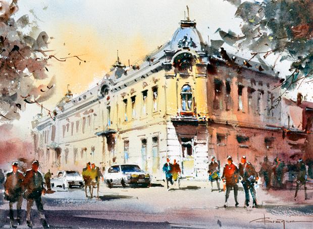 Watercolour-Acuarela-Corneliu-Dragan-Targoviste-peisaj-citadin-32