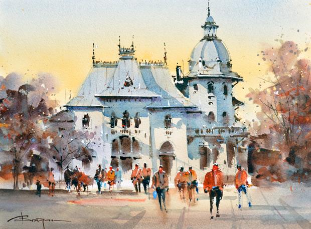 Watercolour-Acuarela-Corneliu-Dragan-Targoviste-peisaj-citadin-33