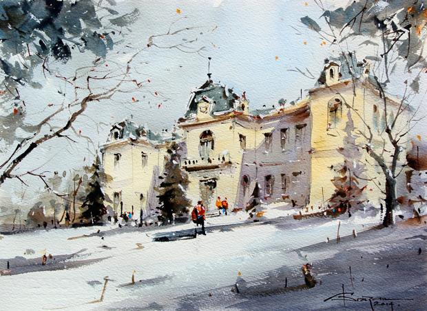 Watercolour-Acuarela-Corneliu-Dragan-Targoviste-peisaj-citadin-37
