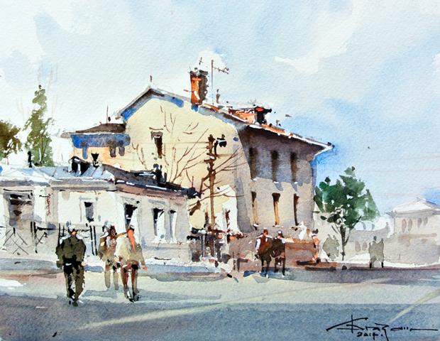Watercolour-Acuarela-Corneliu-Dragan-Targoviste-peisaj-citadin-38