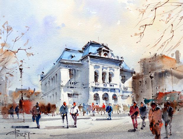 Watercolour-Acuarela-Corneliu-Dragan-Targoviste-peisaj-citadin-39