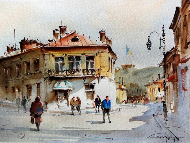 Watercolour-Acuarela-Corneliu-Dragan-Targoviste-peisaj-citadin-40