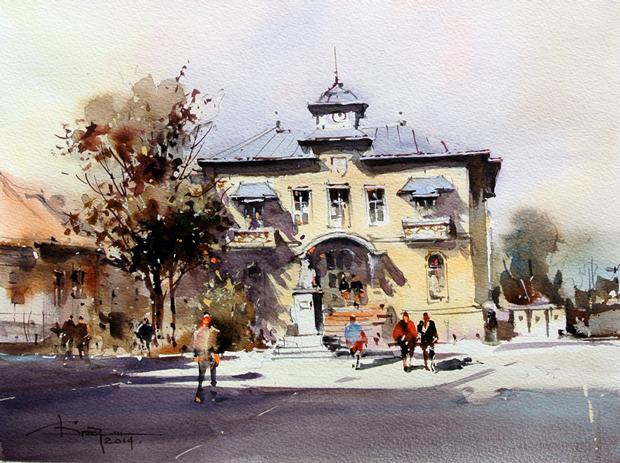 Watercolour-Acuarela-Corneliu-Dragan-Targoviste-peisaj-citadin-42