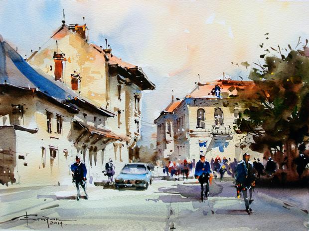 Watercolour-Acuarela-Corneliu-Dragan-Targoviste-peisaj-citadin-43