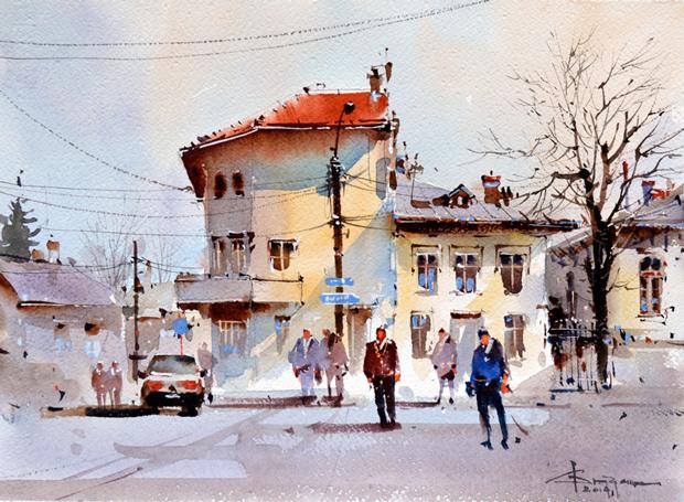 Watercolour-Acuarela-Corneliu-Dragan-Targoviste-peisaj-citadin-44