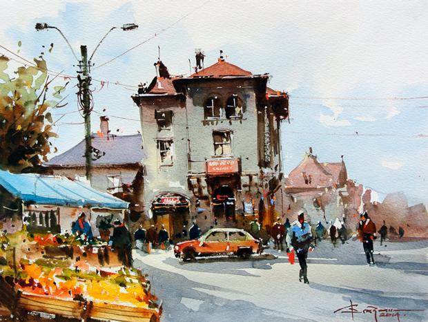 Watercolour-Acuarela-Corneliu-Dragan-Targoviste-peisaj-citadin-46