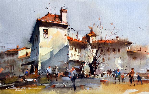 Watercolour-Acuarela-Corneliu-Dragan-Targoviste-peisaj-citadin-47