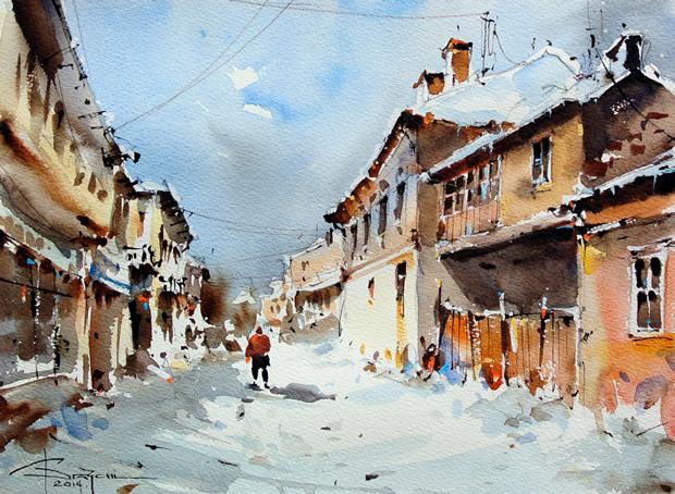 Watercolour-Acuarela-Corneliu-Dragan-Targoviste-peisaj-citadin-48