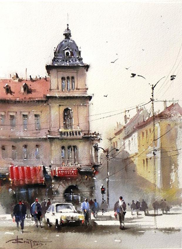 Watercolour-Acuarela-Corneliu-Dragan-Targoviste-peisaj-citadin-5