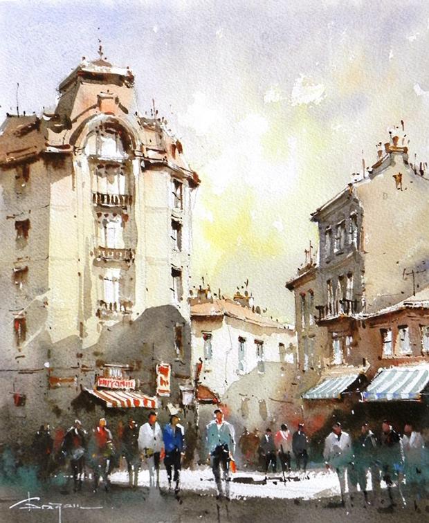 Watercolour-Acuarela-Corneliu-Dragan-Targoviste-peisaj-citadin-7