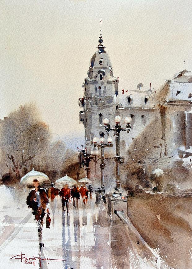 Watercolour-Acuarela-Corneliu-Dragan-Targoviste-peisaj-citadin-8