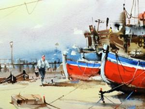 Watercolour-Acuarela-Corneliu-Dragan-Targoviste-peisaj-marin-0