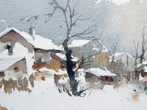 Watercolour-Acuarela-Corneliu-Dragan-Targoviste-peisaj-rural-0