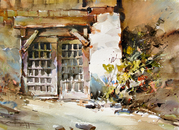 Watercolour-Acuarela-Corneliu-Dragan-Targoviste-peisaj-rural-1