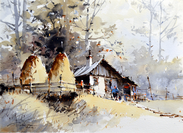 Watercolour-Acuarela-Corneliu-Dragan-Targoviste-peisaj-rural-10