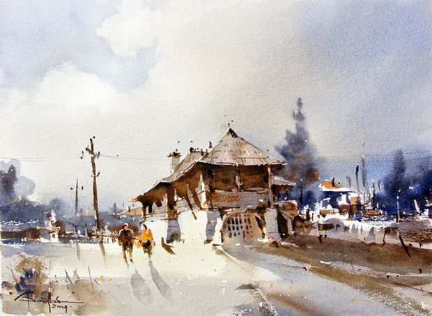 Watercolour-Acuarela-Corneliu-Dragan-Targoviste-peisaj-rural-11