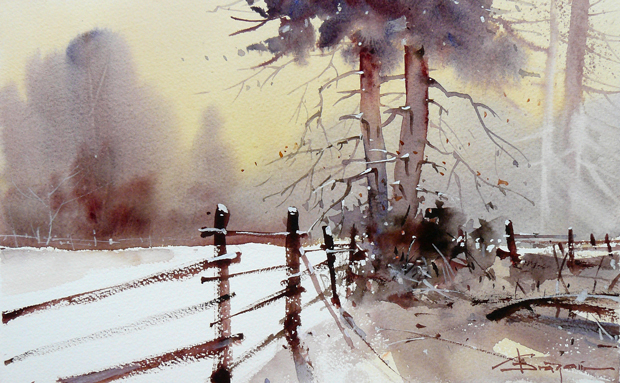 Watercolour-Acuarela-Corneliu-Dragan-Targoviste-peisaj-rural-12