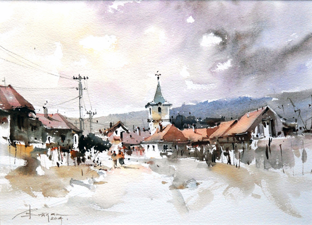 Watercolour-Acuarela-Corneliu-Dragan-Targoviste-peisaj-rural-13