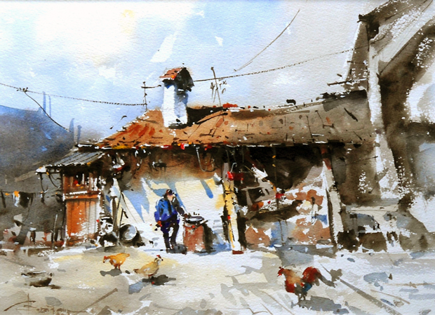 Watercolour-Acuarela-Corneliu-Dragan-Targoviste-peisaj-rural-18
