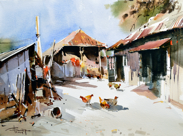 Watercolour-Acuarela-Corneliu-Dragan-Targoviste-peisaj-rural-19