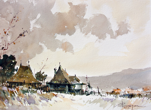Watercolour-Acuarela-Corneliu-Dragan-Targoviste-peisaj-rural-2